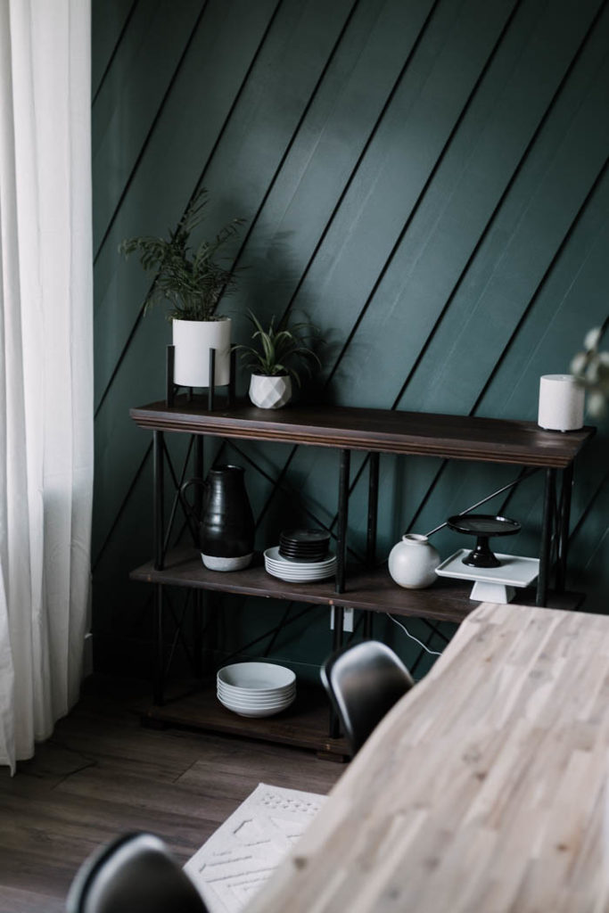 simple dining room open shelving