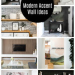 "collage of modern accent walls with text overlay reading, ""20+ modern accent wall ideas"""