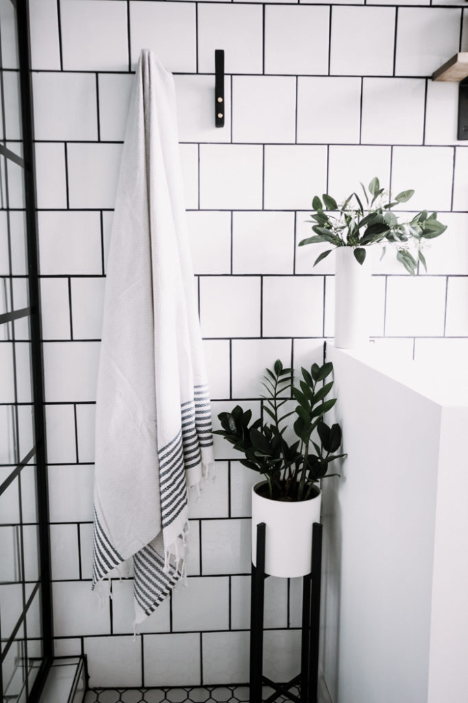 square white tile in the bathroom