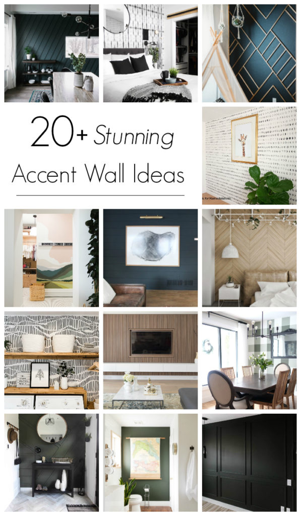 "collage of accent wall ideas with text overlay reading ""20+ stunning accent wall ideas"""