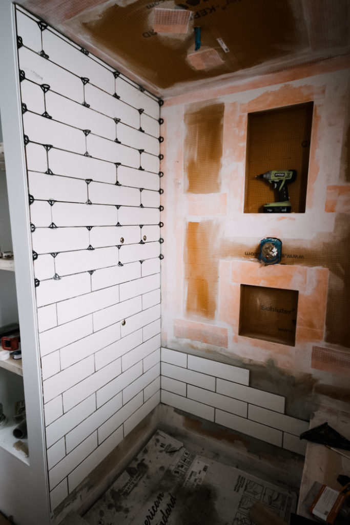 bathroom photo showing how to stop and restart tiling projects