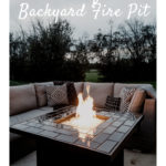"Gorgeous DIY firepit with text overlay reading, ""Beautiful Backyard Fire Pit"""
