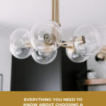 """A stunning modern chandelier with text overlay reading, """"everything you need to know about choosing a chandelier"""""""