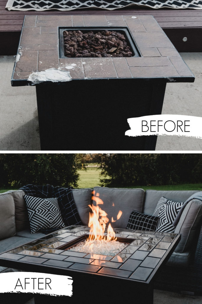before and after collage of fire pit revamp