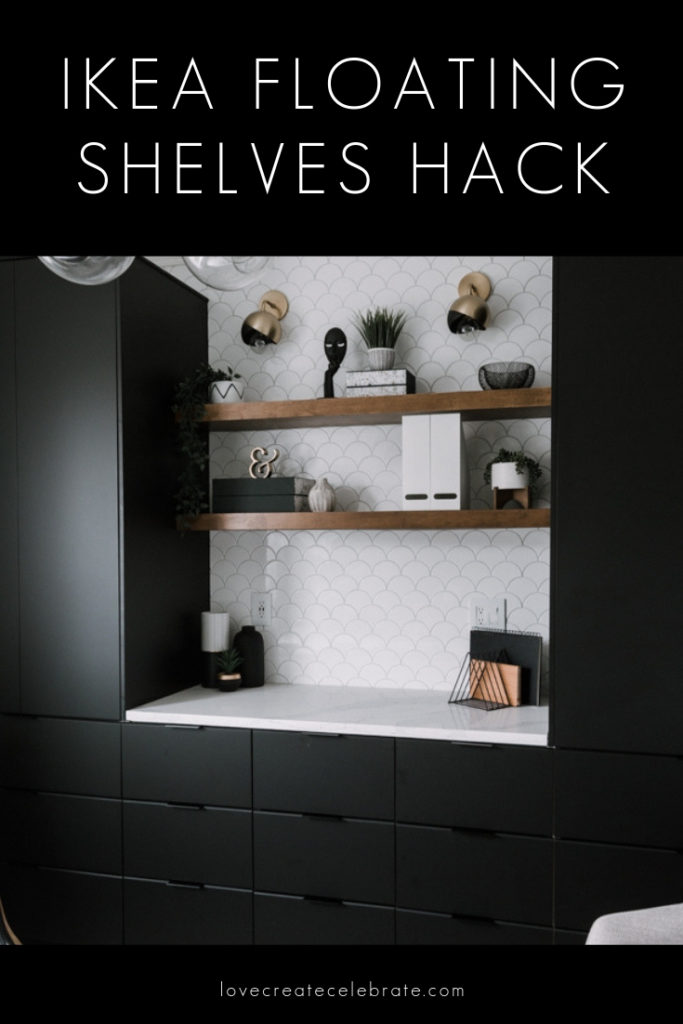 "Photo of beautiful wooden office shelves with text overlay reading ""IKEA Floating shelves hack"""
