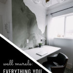 "office wall mural with text overlay reading, ""wall murals: everything you need to know"""