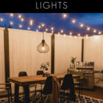 "Outdoor deck, with text overlay reading, ""How to Hang Patio String Lights"""