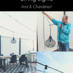 "collage of hanging string lights and an outdoor chandelier, with text overlay reading ""how to hang patio string lights"""