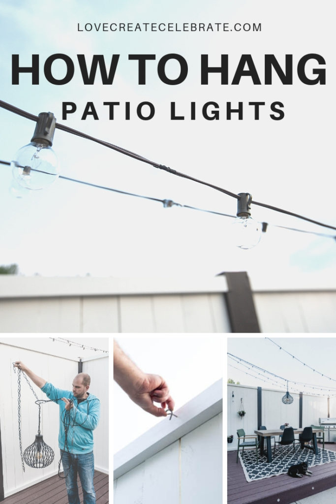 "Collage of patio lights with text overlay reading, ""How to hang patio lights"""