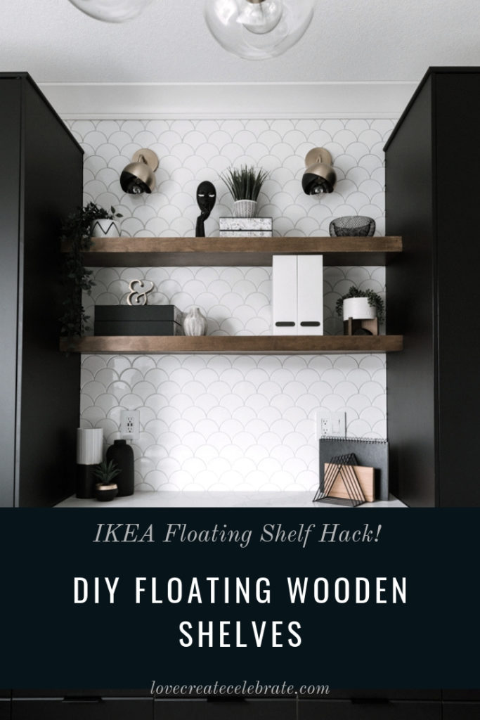 "Walnut shelving with text overlay reading ""DIY floating wooden shelves"""