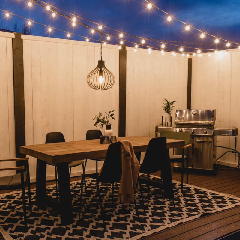 modern back patio with string lights