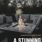 "Gorgeous backyard photo with text overlay reading, ""A stunning DIY Fire Pit"""