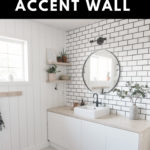 "Gorgeous bathroom with text reading, ""a new bathroom accent wall"""