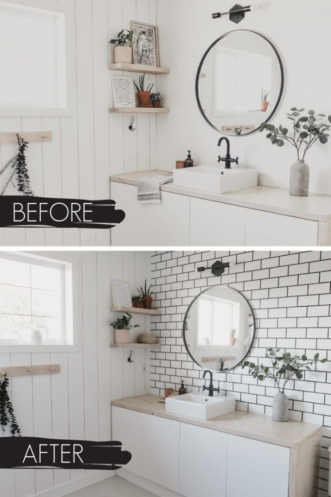 bathroom before and after collage with new accent wall