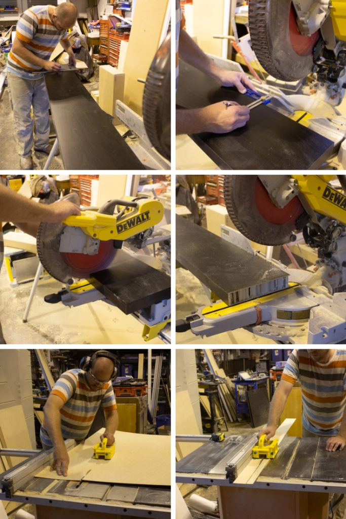 Photos of cutting the IKEA shelf into the correct number of pieces