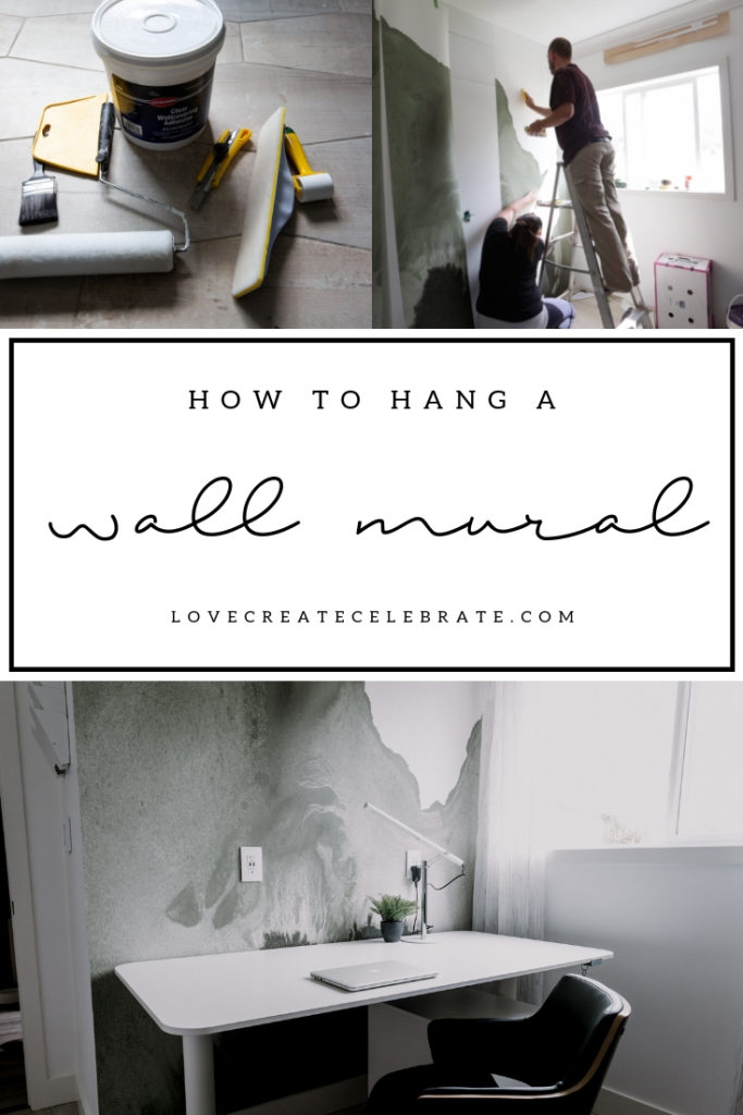 "collage of mural installation photos with text overlay reading ""how to hang a wall mural"""