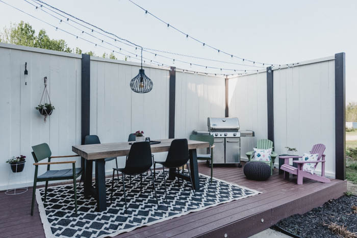 modern deck with string lights