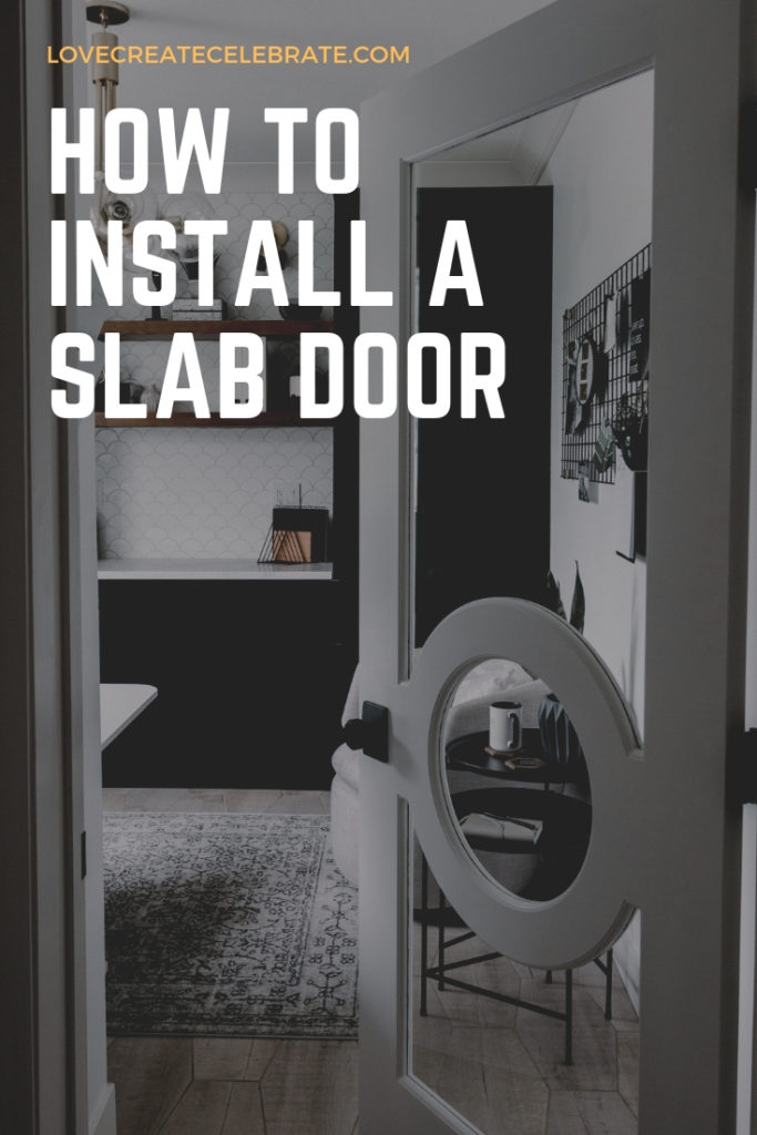 stunning modern interior door with text overlay reading :how to install a slab door""