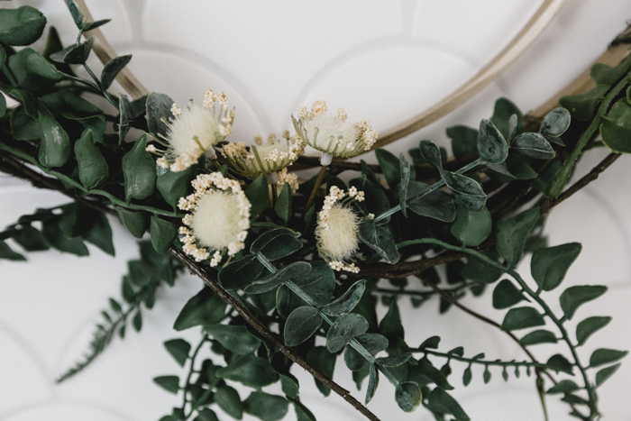 Faux greenery and eucalyptus for a wreath