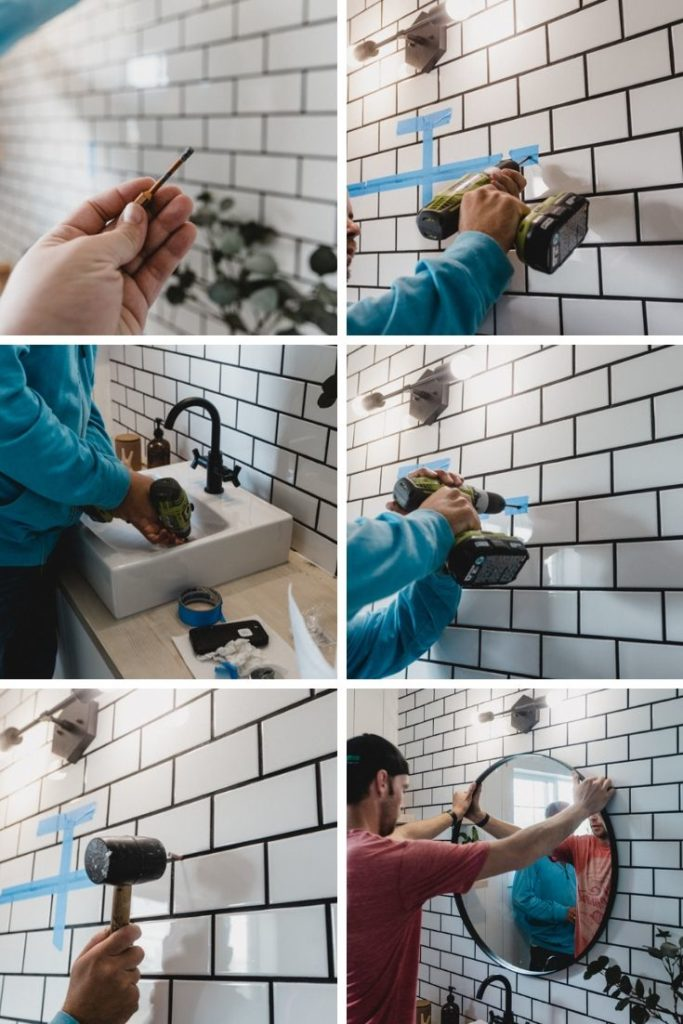 collage showing how to hand a mirror on tile