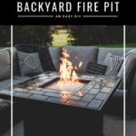 """Backyard Fire Pit"" text over backyard modern fire pit"
