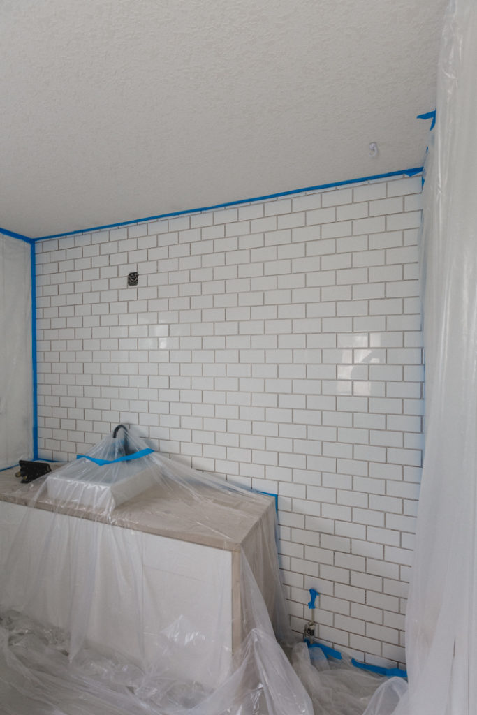 tiled subway tile before grout