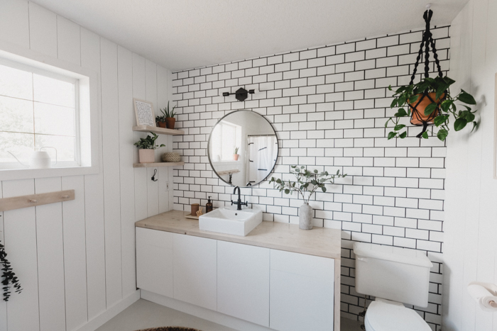 Gorgeous bathroom accent wall with subway tile
