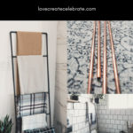 DIY modern blanket ladder made with copper pipe