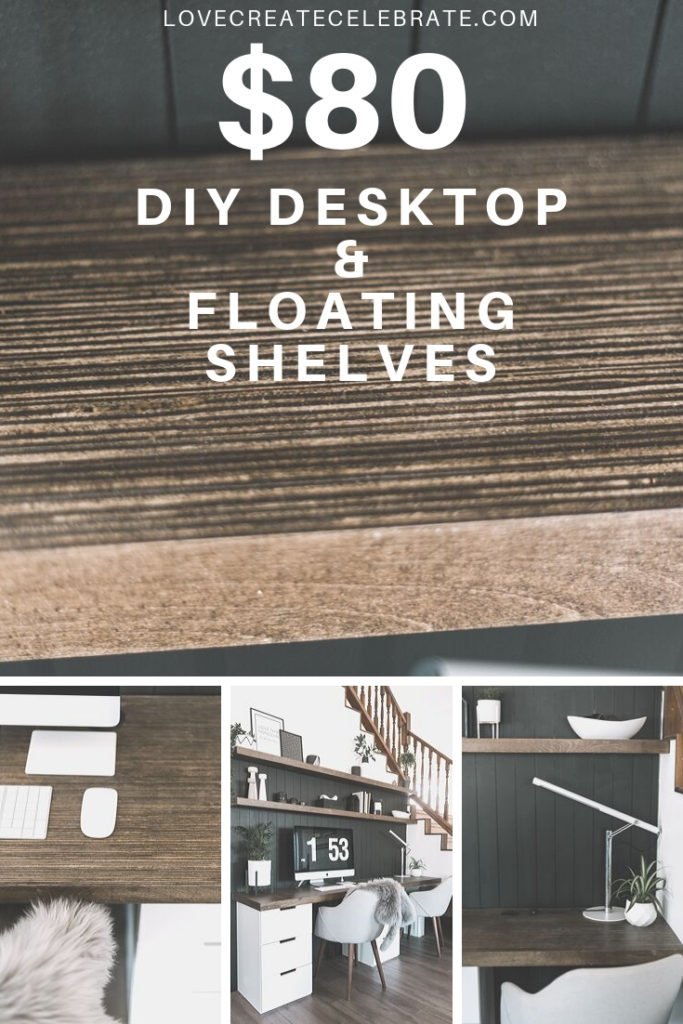 "Collage of computer desk photos with text overlay reading ""DIY desktop and floating shelves"""