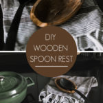 "fall farmhouse kitchen spoon rest with text overlay reading ""DIY Wooden Spoon Rest"""