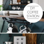 """coffee station photos with text overlay reading """"DIY Coffee Station"""""""
