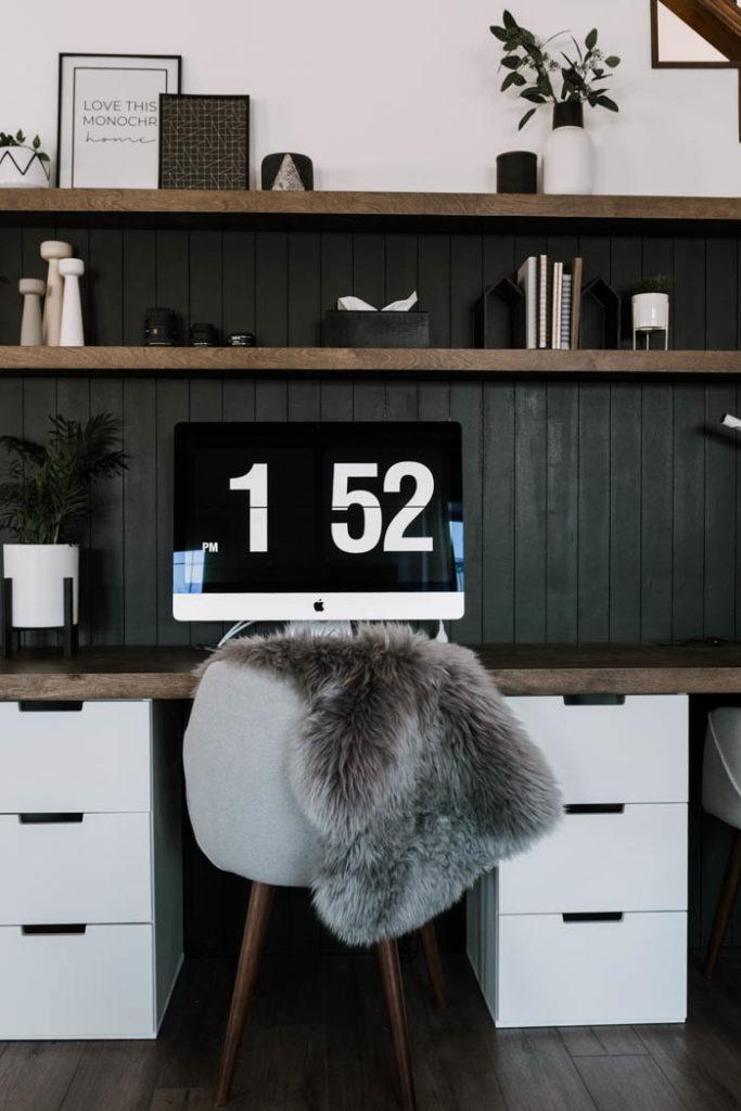 Stunning DIY Desktop and matching floating shelves