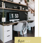 "Stunning modern desk with text overlay reading ""$40 DIY Desktop"""