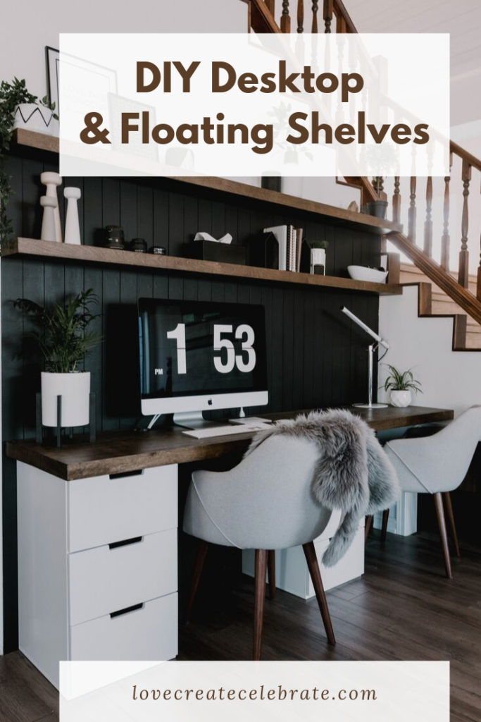"Modern Desk DIY with text overlay reading ""DIY desktop & floating shelves"""