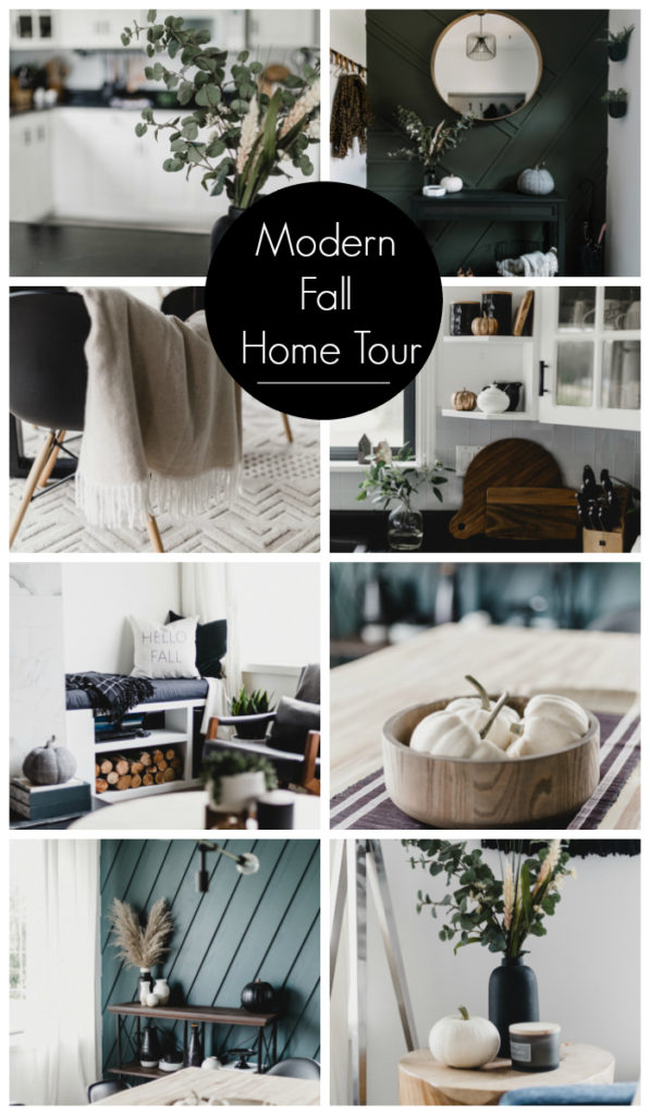 "Collage of fall home tour photos with text overlay reading ""Modern Fall Home Tour"""