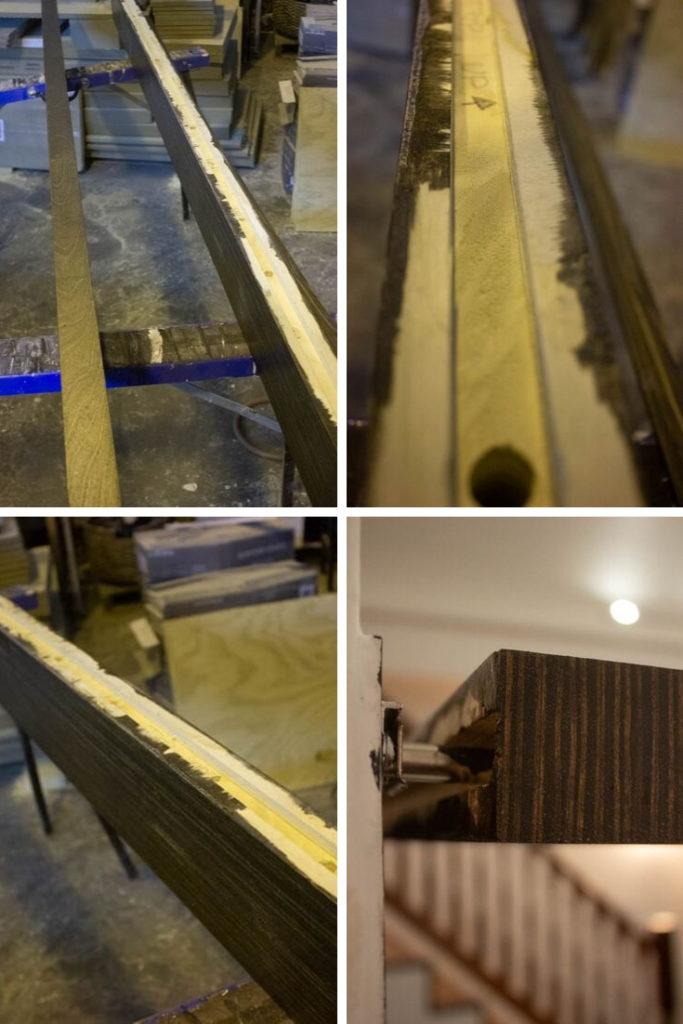 Dark Walnut Stain on Floating Shelves