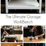 collage of garage workbench photos