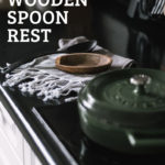 "Kitchen stove with black counters and text reading ""Wooden Spoon Rest"""