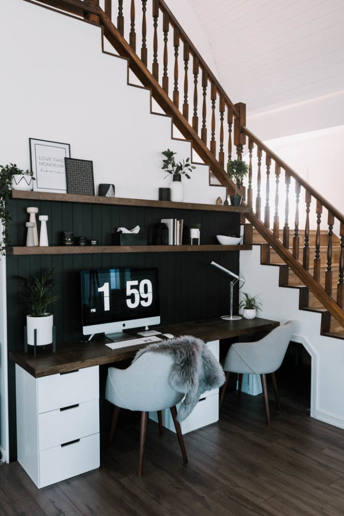 Stunning modern office space with DIY Shelves and Desktop