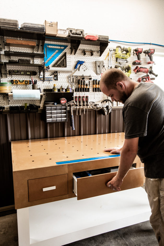 putting drawers in a workbench