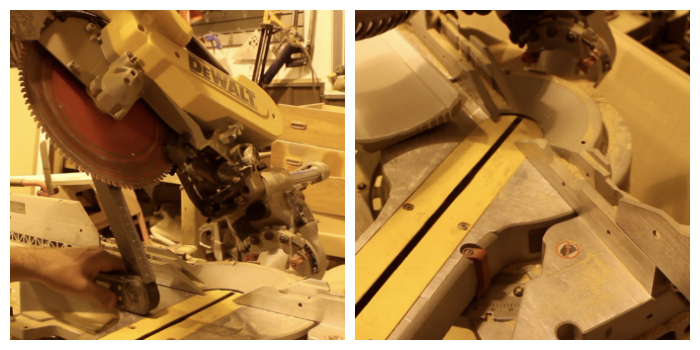 adjusting the bevel and mitre of a mitre saw
