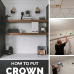 """collage of crown molding installation photos with text overlay, reading """"how to put crown molding over tile"""""""