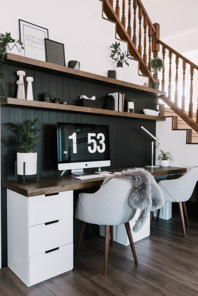 Beautiful dark wood desktop and floating shelves