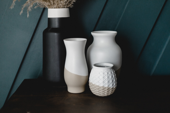 DIY fall white and beige vases