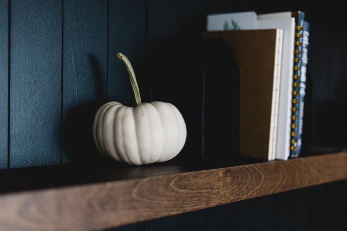 white pumpkins to style shelves