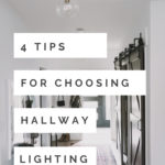"Modern Hallway with text reading, ""4 tips for choosing hallway lighting"""