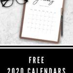Free 2020 calendar printables