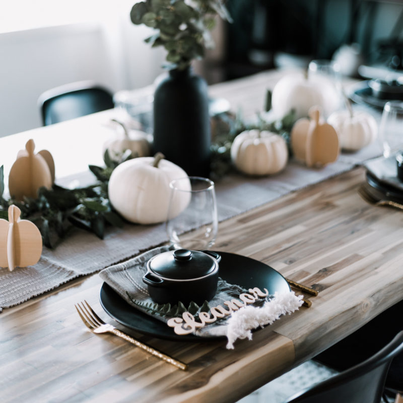 Tablescape with wood projects made on the Cricut maker
