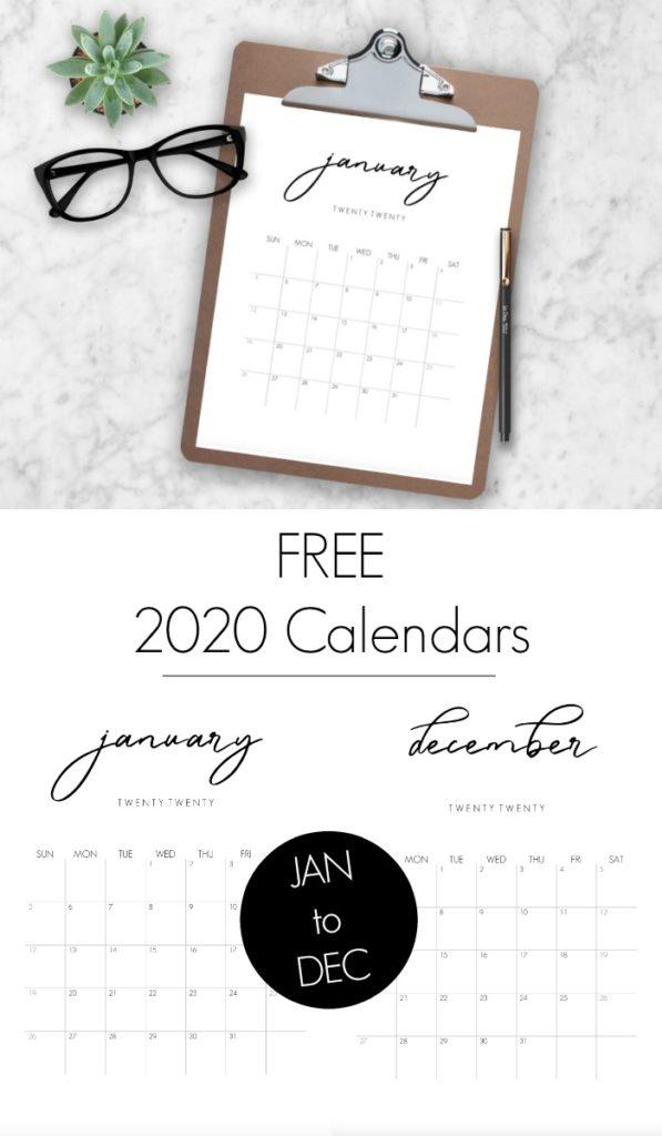 FREE modern 2020 Calendars