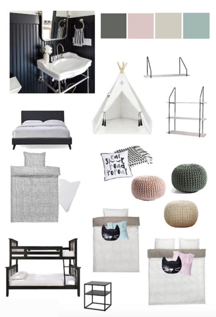 Design Inspiration Board for a Shared Girl and Boy Bedroom